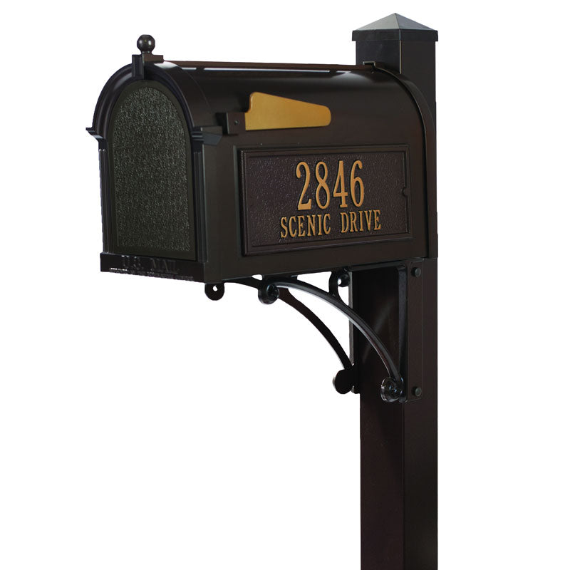 16306 Superior Capitol Mailbox Package with Post and Side Plaques - Bronze/Gold