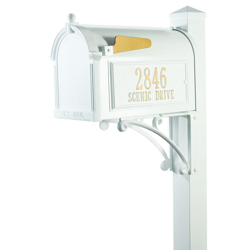 16307 Superior Capitol Mailbox Package with Post and Side Plaques - White/Gold