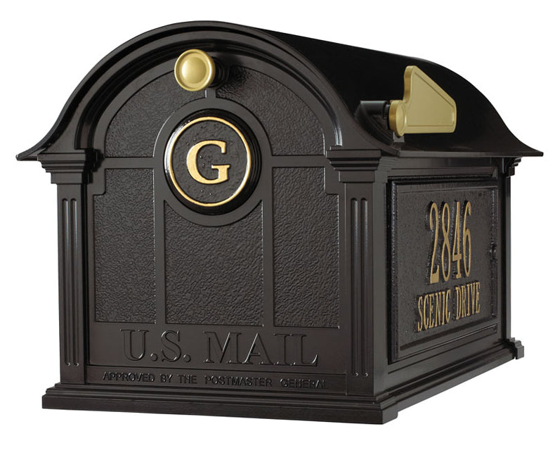 16365 Balmoral Mailbox with Side Plaques and Monogram Package