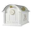 16367 Balmoral Mailbox with Side Plaques and Monogram Package - White/Gold