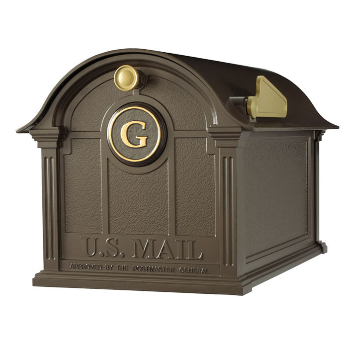 16505 Balmoral Mailbox with Monogram Package - Bronze/Gold