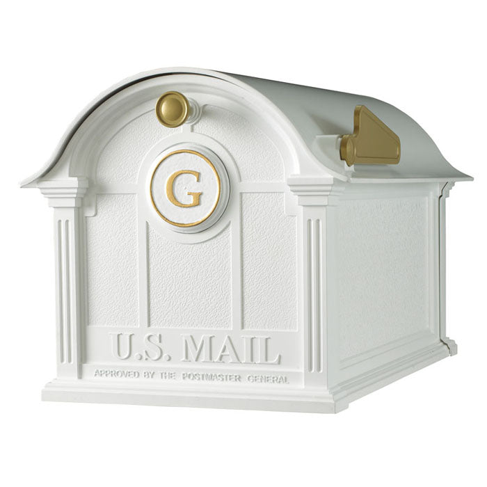 16506 Balmoral Mailbox with Monogram Package - White/Gold