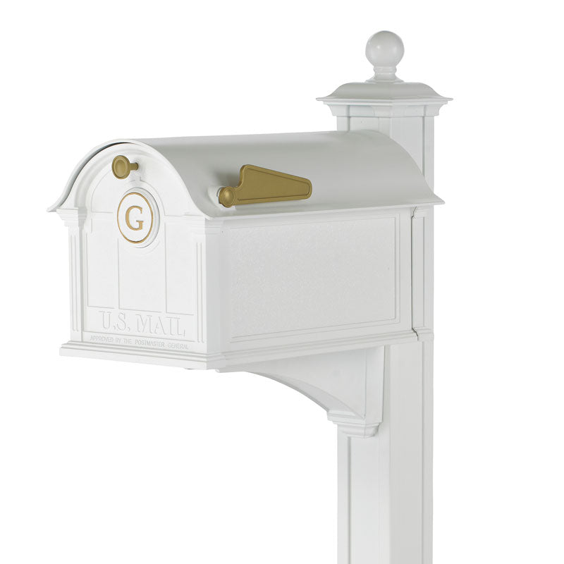 16515 Balmoral Mailbox with Monogram and Post Package - White/Gold