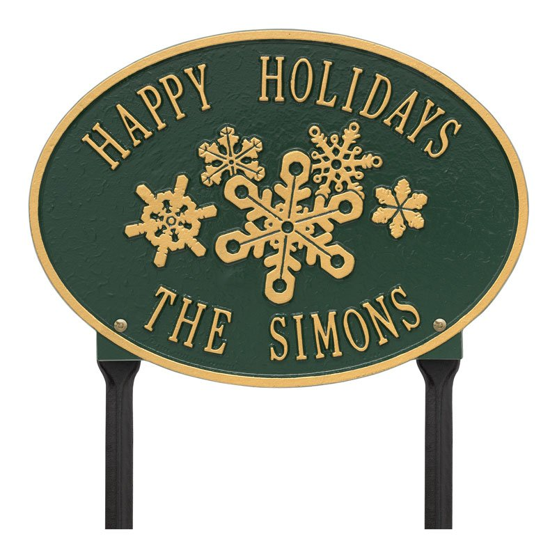 1755GG Snowflake Oval Personalized Lawn Plaque - Green/Gold