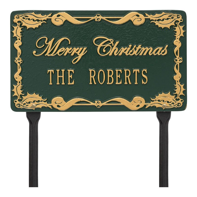 1757GG Merry Christmas Holly Personalized Lawn Plaque - Green/Gold