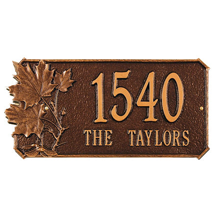 2094 Maple Leaf Standard Wall Address Plaque - 2 Line