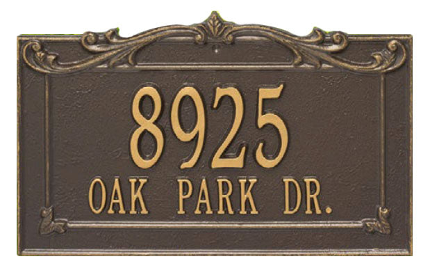 2851 Sheridan Extra Grande Wall Address Plaque - 2 Line
