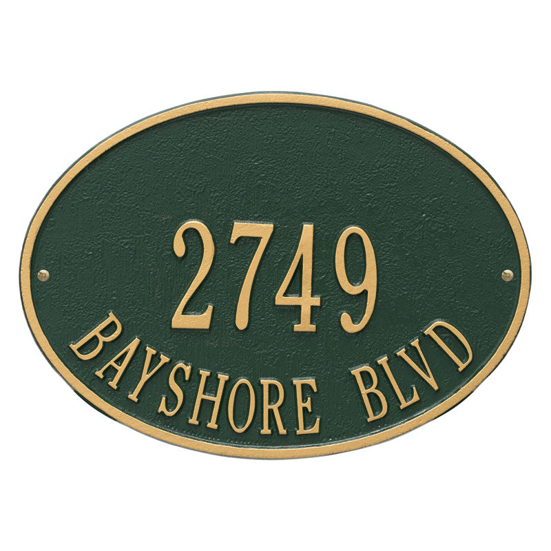 2923 Hawthorne Oval Standard Wall Address Plaque - 2 Line