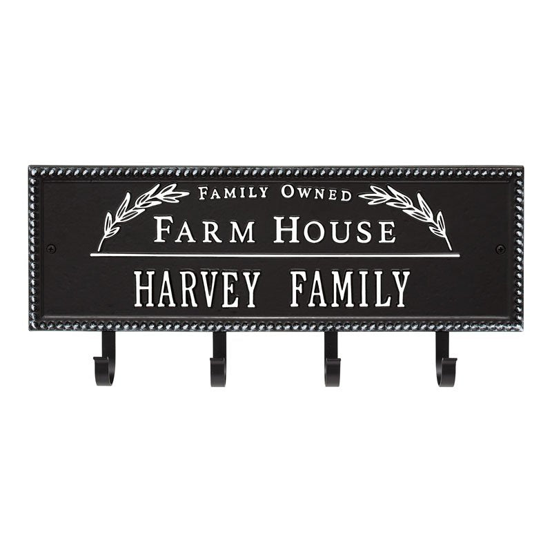 3687BW Farm House Beaded Rectangle Personalized Hook Plaque