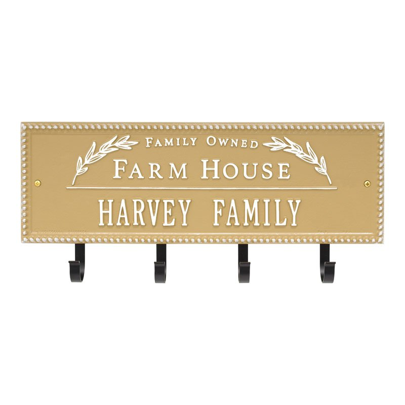3687CT Farm House Beaded Rectangle Personalized Hook Plaque