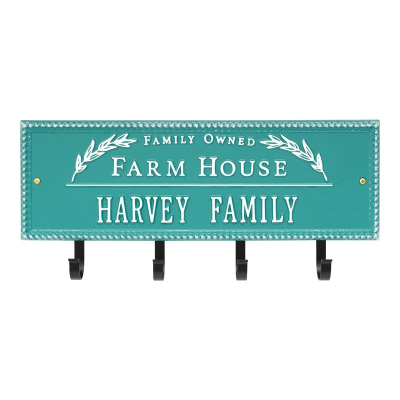 3687D2 Farm House Beaded Rectangle Personalized Hook Plaque