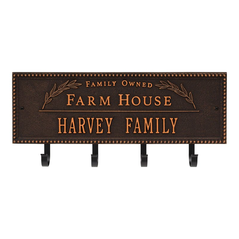 3687OB Farm House Beaded Rectangle Personalized Hook Plaque