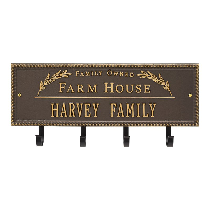3687OG Farm House Beaded Rectangle Personalized Hook Plaque