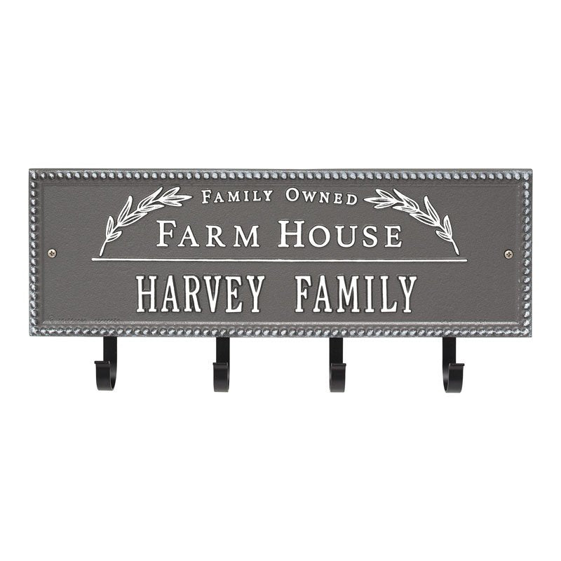 3687PW Farm House Beaded Rectangle Personalized Hook Plaque