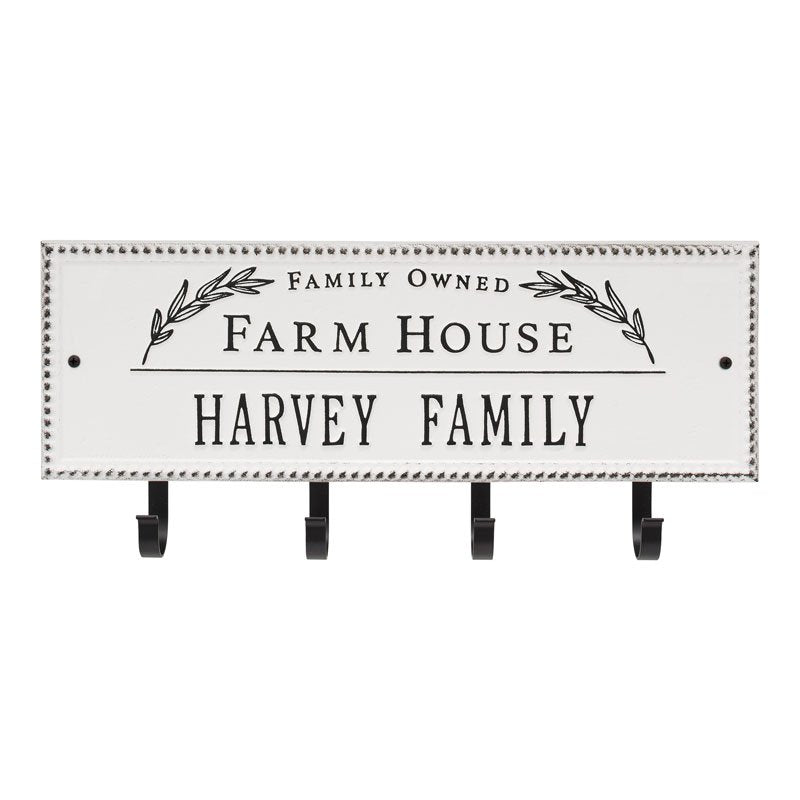 3687WH Farm House Beaded Rectangle Personalized Hook Plaque