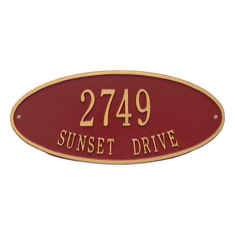 4007 Madison Oval Standard Wall Address Plaque - 2 Line