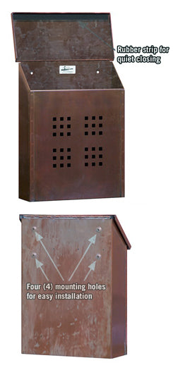 4425 Antique Brass Mailbox - Decorative Vertical