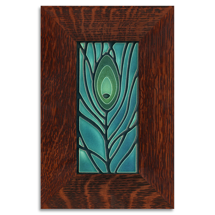 Motawi 4x8 Peacock Feather Tile - Dk Ocean - Oak Park Frame