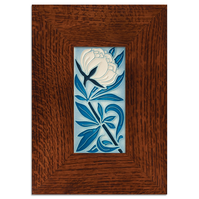 Motawi 4x8 Peony Tile - Pale Blue - Legacy Frame