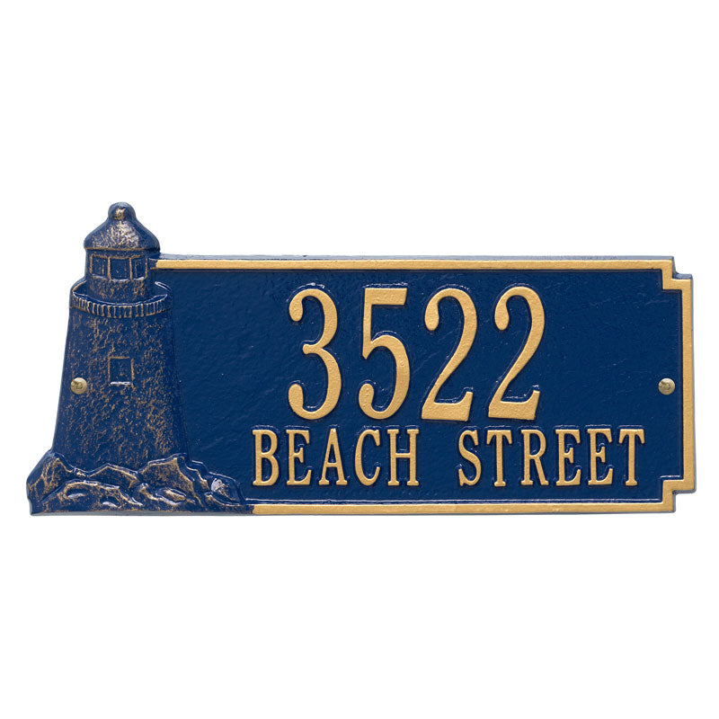 5119 Lighthouse Rectangle Standard Wall Address Plaque - 2 Line