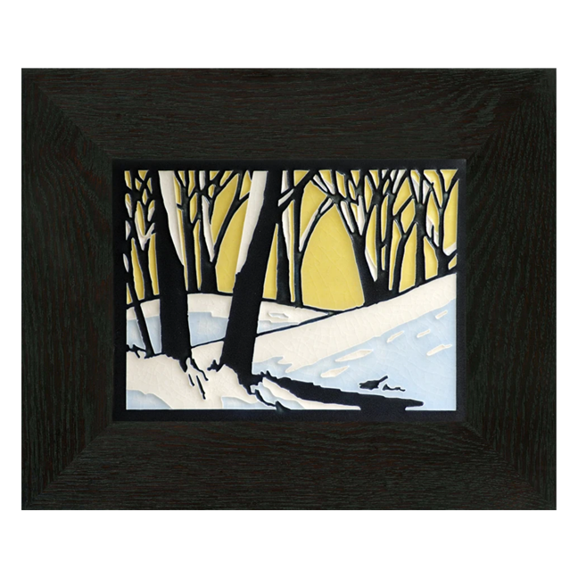 Motawi 6x8 6819 Snowscape - Dawn - Oak Park Frame - Ebony Finish