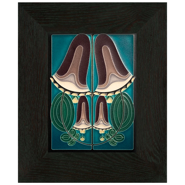 Motawi 6x8 Blooming Bell Tile Turquoise - Oak Park Frame