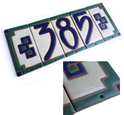7011 Arts & Crafts Style House Number Tile - End