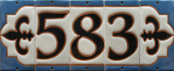 8011 Tudor Style House Number End Tile - Tudor Blue