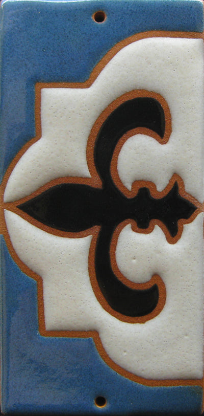 Tudor Style House Number End Tile - Tudor Blue