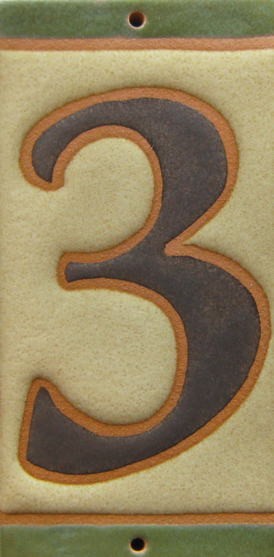 Tudor Style House Number Tile 3 - Tudor Brown