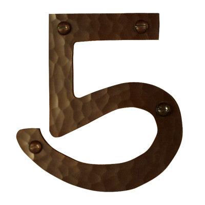 Hammered Copper House Number 5