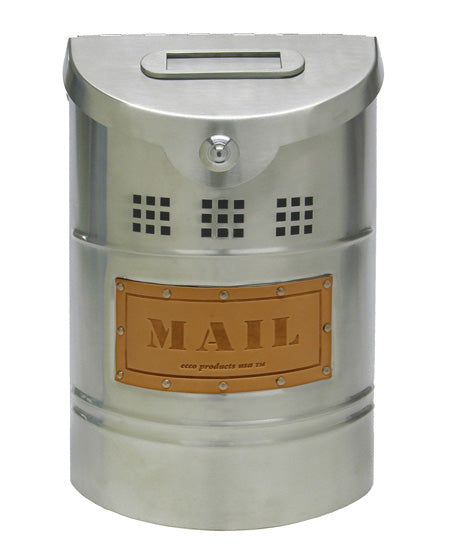 E1X Modern Style Mailbox - Satin Stainless Steel With Leather Label