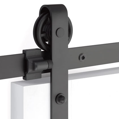 Emtek Barn Door Hardware Kit - Classic Face Mount Hanger - Flat Black
