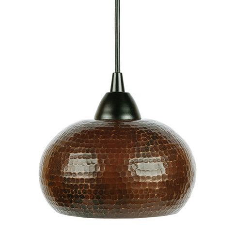 L600DB Hand Hammered Copper 7 Inch Globe Pendant Light