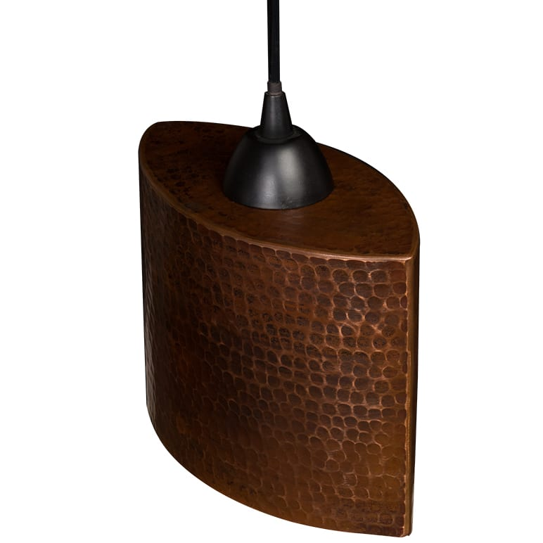 L800DB Hand Hammered Copper 8 Inch Oval Cylinder Pendant Light