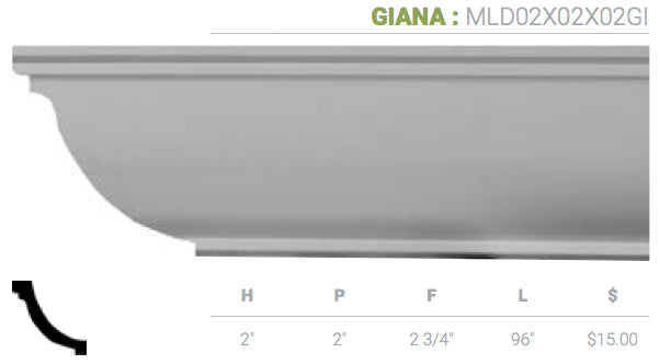 MLD02X02X02GI Giana Crown Moulding