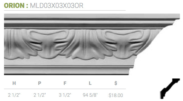 MLD03X03X03OR Orion Crown Moulding