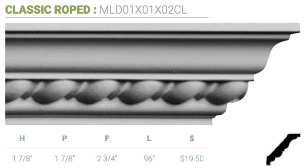 MLD01X01X02CL Classic Roped Crown Moulding