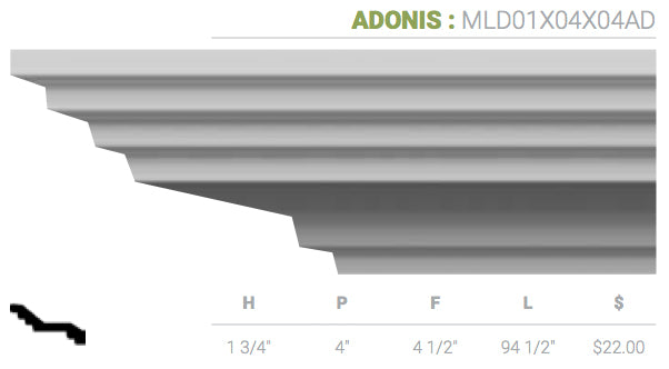 MLD01X04X04AD Adonis Crown Moulding