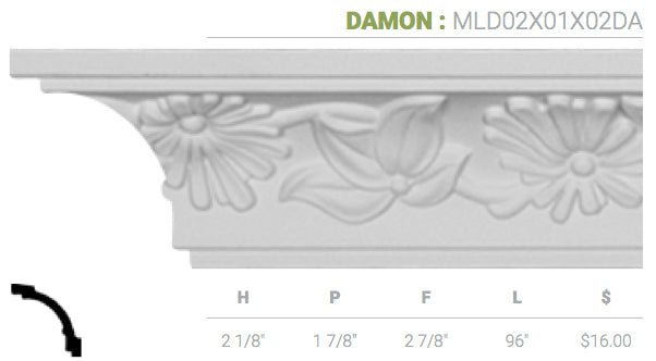 MLD02X01X02DA Damon Crown Moulding