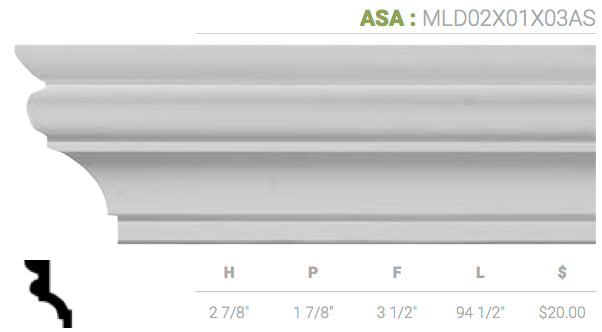 MLD02X01X03AS Asa Crown Moulding