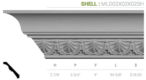 MLD02X02X02SH Shell Crown Moulding