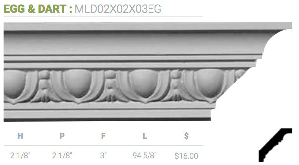 MLD02X02X03EG Egg And Dart Crown Moulding