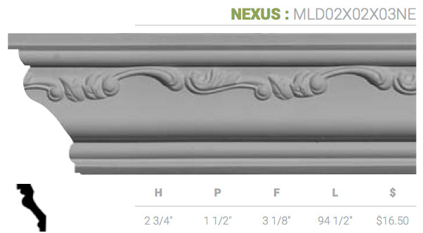 MLD02X02X03NE Nexus Crown Moulding