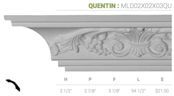 MLD02X02X03QU Quentin Crown Moulding