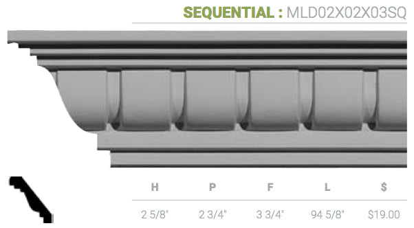 MLD02X02X03SQ Sequential Crown Moulding