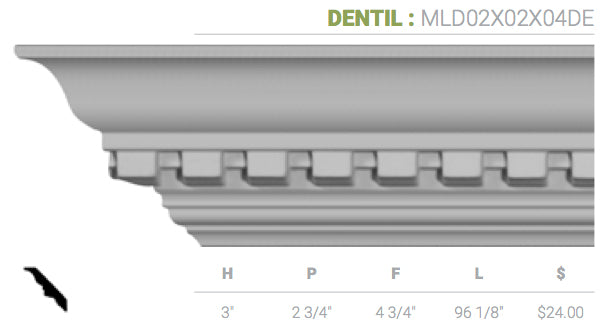 MLD02X02X04DE Dentil Crown Moulding
