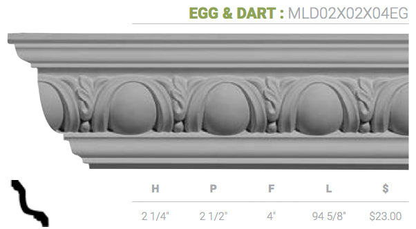 MLD02X02X04EG Egg And Dart Crown Moulding