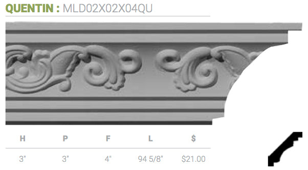 MLD02X02X04QU Quentin Crown Moulding
