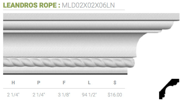 MLD02X02X06LN Leandros Crown Moulding